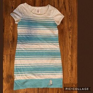 Disney turquoise and grey stripe T shirt dress